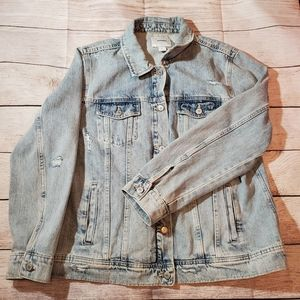 Old Navy Distressed Jean Jacket Light Wash XL